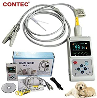 CONTEC Veterinary Handheld CMS60D-Vet Pulse Tester Pulse Oxygen Saturation and Pulse Rate Tongue Probe Pets/Animals/cat/Dog with PC Software