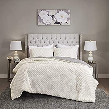 Madison Park Adler Reversible Comforter Sherpa to Faux Mink Quilted Design Modern All Season Down Alternative Bed Set with Matching Shams Twin/Twin XL 68 x90   Ivory/Grey