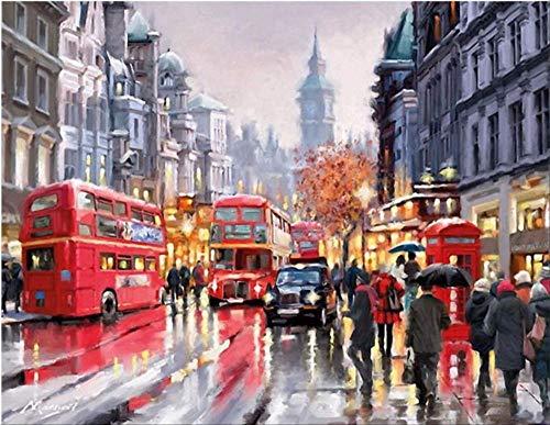 DJHYT Peinture par Numéro de Bricolage peintureRomance est Le Bus-Wood Frame-(40x50cm)