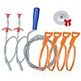 Drain Clog Remover Tool, 7-in-1 and 6-in-1 Drain anti-clogging cleaning kit, sewer toilet dredge, for kitchen sinks, bathtubs and bathroom sinks.(7 in 1 drain drill 78 inches)