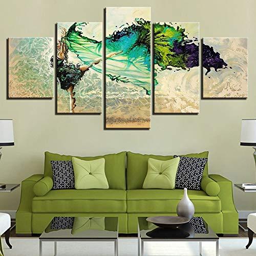 Marco de ilustraciones modernas Decoración para sala de estar Impresión en HD Póster Pintura 5 paneles Piedra Buda Figuras Flor Lienzo Arte de la pared Imagen-100 * 55 cm-Enmarcado