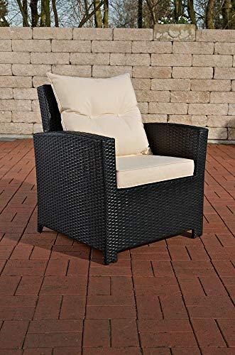 CLP Polyrattan-Sessel FISOLO inklusive Sitzkissen I Robuster Gartenstuhl mit einem Untergestell aus Aluminium I erhältlich Schwarz, cremeweiß