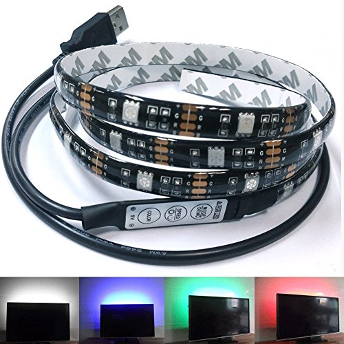 Bias Lighting Black Flat TV LED Backlight Kit, USB Powered,OGG 3.28Ft(1M) Multi-Colour 30leds Flexible 5050 RGB USB LED Strip Light with Mini Controller for TV/PC/Laptop Background Lighting