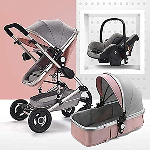 Landaus 3 en 1 Poussette High View Transport Poussette Anti-Shock Baby Basket à Deux Voies du Nouveau-né Travelling bébé Fournitures pour bébé ( Color : Silver Tube-Pink )
