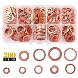 Rantecks 200PCS Rondelle Piatte Rondella Guarnizione Assortimento Kit Metrica Piatta...