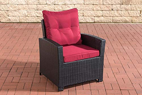CLP Polyrattan-Sessel Fisolo Mit Sitzkissen I Gartenstuhl Mit Untergestell Aus Aluminium, Farbe:schwarz, Polsterfarbe:Rubinrot