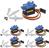 ZHITING 5Pz SG90 9G Kit Micro Servomotore per Braccio Robot RC/Mano/Camminare Elicottero Aeroplano Controllo Barca Auto con Cavo, Mini Servi Progetto Arduino