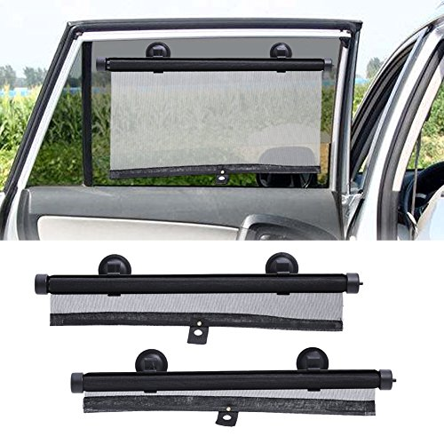 Universal Car Side Window Sonnenschutz Auto Shade Roller Einziehbarer für hintere Fenster mit Saugnäpfen Windschutz Gesundheitsschädliche UV-Strahlen halten Baby Kids vor Blendung und Hitze