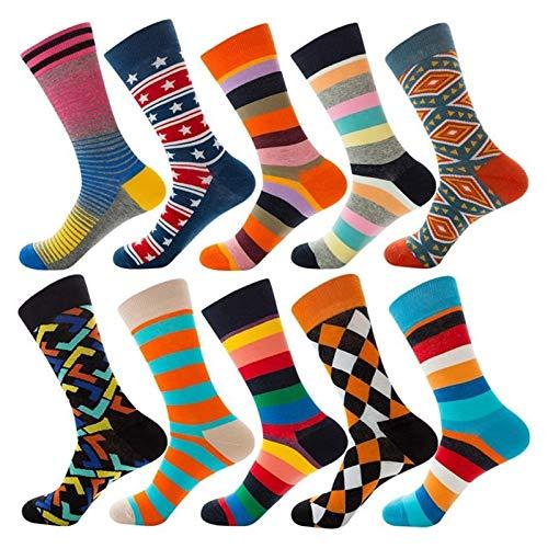 XiaoG Fußball Socken 10 Paar Neuheit Mode Herren und Frauen Baumwollsocken, Cartoon Tier Früchte Lebensmittelstreifen, Kunst Van Gogh Happy Casual Late Long Socken (Color : 17, Size : 7-10)