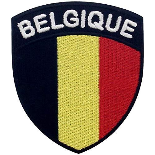 EmbTao Belgien Schild Flagge Bestickter Aufnäher zum Aufbügeln/Annähen