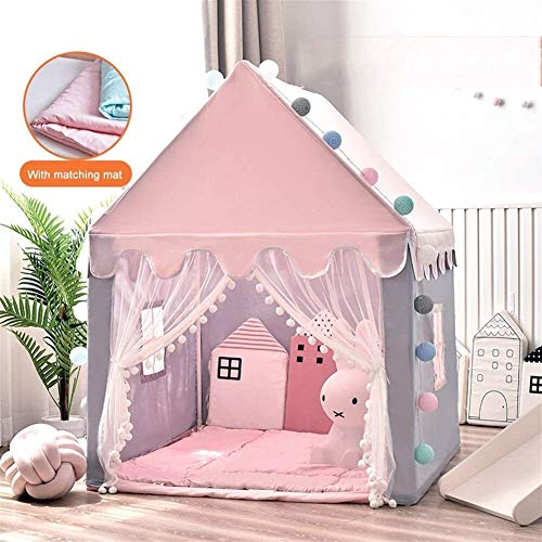 SMLZV Children Tent,Children Playhouse,Castle Play Tent House Palace,with Cotton Pad,for Indoor and Outdoor Games,Birthday Quieting Kids Teepee ( Color : Pink )