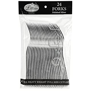 Plastic Cutlery Silverware Extra Heavyweight Disposable Flatware, Full Size Plastic Forks Like Silver, 24 Pack (B01MRHKDWF) | Amazon price tracker / tracking, Amazon price history charts, Amazon price watches, Amazon price drop alerts