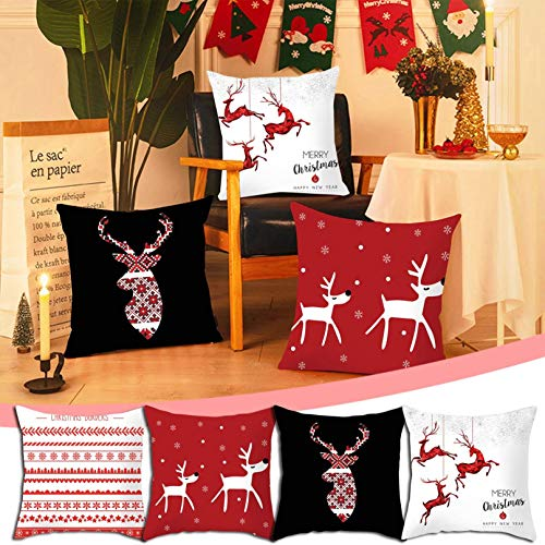 "4 Pcs Christmas Pillow Covers 18 x 18, Black Red Plaid Decorative Holiday Christmas Throw Pillow Covers Christmas Decor, Great Decorations and Best Gift for Christmas (Multicolor 7, 18"" x 18"")"