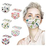 50 Pack Spring flowers Face_Masks with 3 Layer Face Filter with Elastic Earloop, Breathable with Floral Print for Adult…