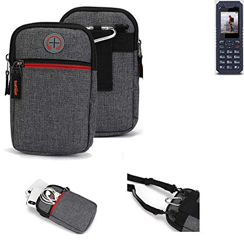 K-S-Trade® Gürtel-Tasche Für Bea-fon AL250 Handy-Tasche Schutz-hülle Grau Zusatzfächer 1x
