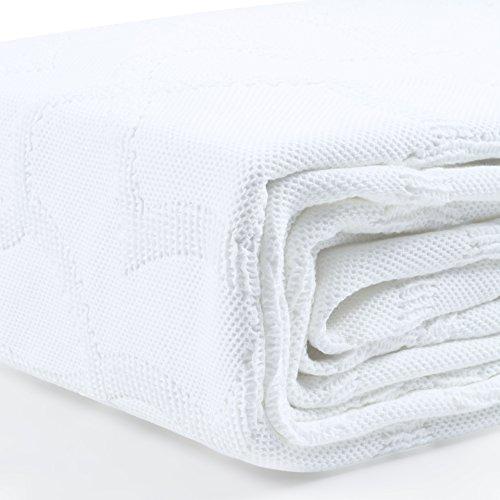 Rose Village Hochwertige Tagesdecke Sofaüberwurf Kinderdecke Design Loulé, Babydecke,100prozent Baumwolle, Made in Portugal, Farbe: weiß, Größe: 130x180