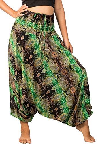 Lofbaz Damen Thai Paisley Smocked Taille Overall Hose Grün XL