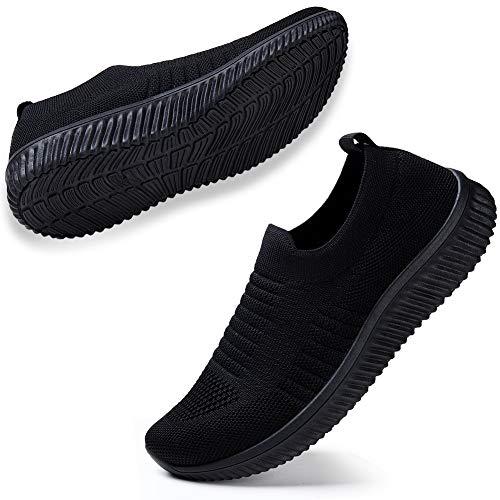 STQ Damen Mesh Slip On Sneakers Walking Outdoor Gym Bequem Leichte Atmungsaktiv Freizeitschuhe(All Schwarz41)