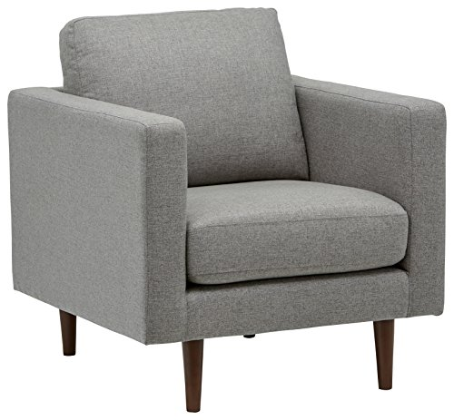 "Amazon Brand – Rivet Revolve Modern Upholstered Armchair with Tapered Legs, 33""W, Grey Weave"