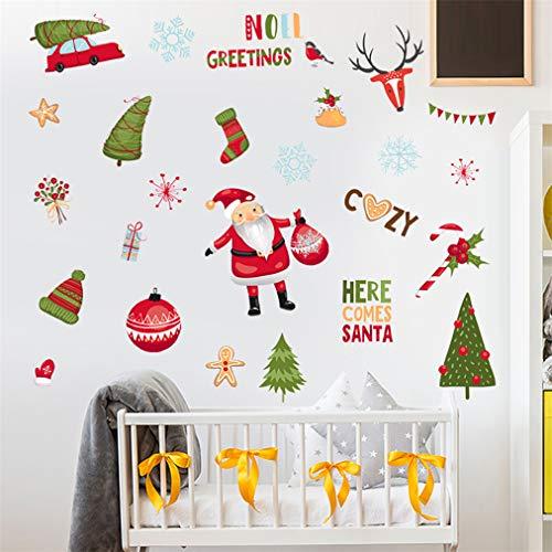 Leuke Kerstman, Kerstmis, Xmas, Ornament, Vakantie 3D Muursticker Verwijderbare Vinyl Waterdichte DIY Muurstickers voor Slaapkamer Woonkamer Raam Badkamers Keuken Plafonds Meubelen Behang Decoratie 45x60cm
