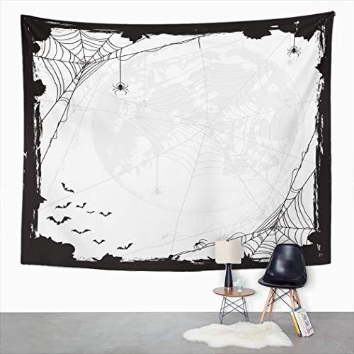 Y·JIANG Tapiz abstracto de Halloween, diseño de arañas negras y murciélagos, telarañas y murciélagos, tapiz grande decorativo para el hogar, dormitorio, 203 x 152 cm