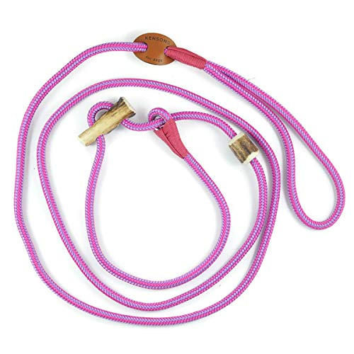 Retrieverlijn roze-paars/Jachtlijn/Sliplijn/Moxonlijn Elegant | robuuste hondenriem gemaakt van touw met geïntegreerde halsbandje | 6mm | met echte herten hoorn stop