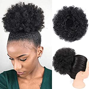 Amazon Com High Afro Puff Ponytail Drawstring Short African American Synthetic Kinky Curly Hair Extension For Black Women 1 Pcs 2 33 Beauty
