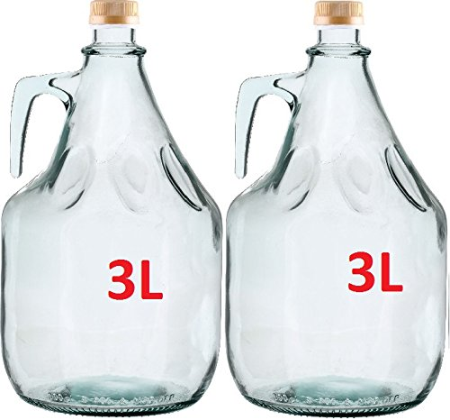 2er SET GLASBALLON GÄRBALLON FLASCHE GLASFLASCHE WEINBALLON GLAS BALLON 3L BDG3Z