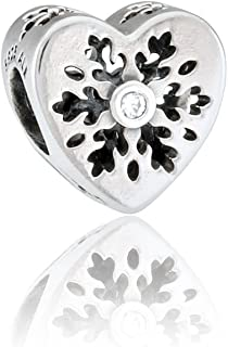 Snowflake Heart Silver Charm with Cubic Zirconia 796359CZ