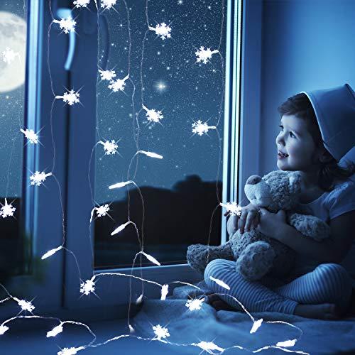 4 Pezzi Luci di Fiocco di Neve di Natale Stringa Batteria Leggera Ghirlanda Luci a Corde Azionate per Le Decorazioni dell'Iarda del Cancello del Giardino di Natale, 40 Piedi 80 Led Totale (Bianco)