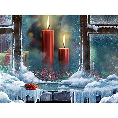 WAFJJ DIY 5D Diamond Painting Kit Candle Round Full Drill Embroidery Cross Stitch Arts Craft Canvas Supply for Home Wall Decor Adults and Kids 60X90CM