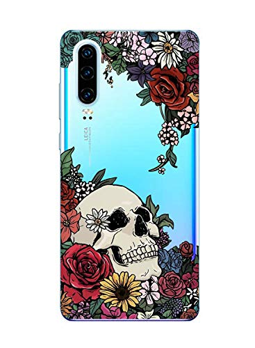 Oihxse Clair Crystal Soft Silicone Compatible pour Huawei Mate 10 Lite/Maimang 6 Coque Transparente TPU Crâne Rose Motif Design Housse Ultra Mince Protection Antichoc Etui(E7)