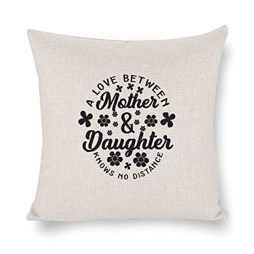 Funda de almohada de lino blanco con impresión de doble cara de un amor entre madre e hija conoce ninguna distancia negro-01 cuadrado para recámara sofá con cremallera invisible, fundas de cojín de 45,7 x 45,7 cm