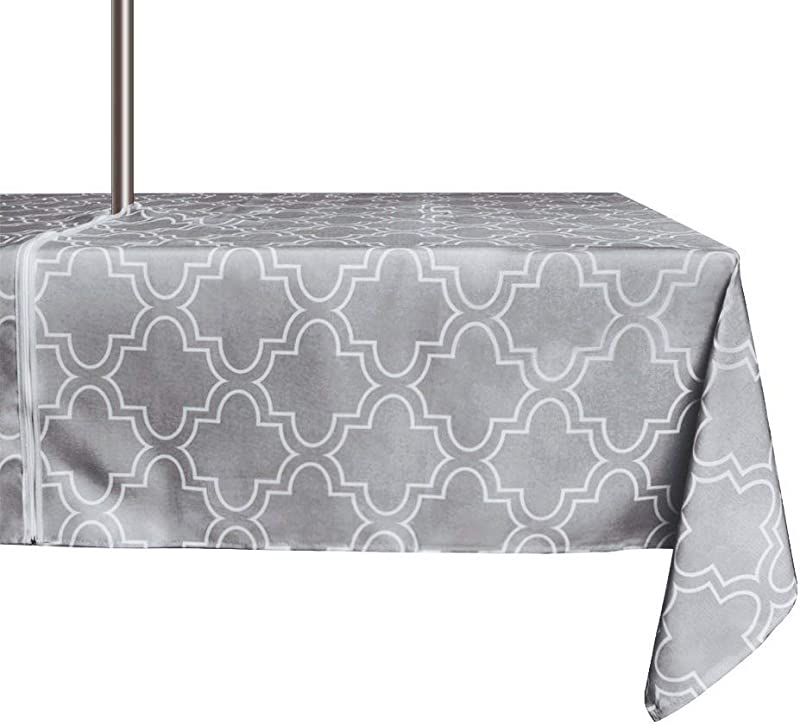 ColorBird Elegant Moroccan Outdoor Tablecloth Waterproof Spillproof Polyester Fabric Table Cover With Zipper Umbrella Hole For Patio Garden Tabletop Decor 60 X 84 Inch Zippered Grey