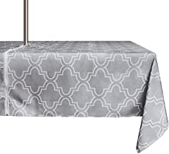 ColorBird Elegant Moroccan Outdoor Tablecloth Waterproof Spillproof Polyester Fabric Table Cover with Zipper Umbrella Hole for Patio Garden Tabletop Decor (60 x 84 Inch, Zippered, Grey)