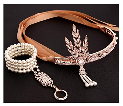 shoperama Juego de 20 accesorios para disfraz de margarita, diadema, anillo y perlas brillantes, charleston, color champn/oro rosa