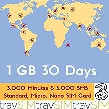 1GB+3000minutes+3000texts Prepaid Sim Card for 72 Destinations Standard Nano Micro 3G 30 Days