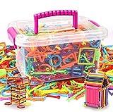 JINTN Kinder 1000pcs BAU Bausteine DIY Pädagogisches Spielzeug Magic Sticks Lernspielzeug Steckspiel Steckbausteine 3D Intelligenz Stapeln Spielzeug mit Handcarry Box Weihnachten Geburtstagsgeschenk