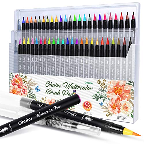 Watercolor Brush Markers Pen, Ohuhu 48 Colors Water Based Drawing Marker Brushes W/A Water Coloring Brush, Water Soluble for Adult Coloring Books Calligraphy Valentine's Day Gifts
