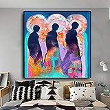 KWzEQ Cuadro En Lienzo Póster trío Abstracto y decoración de Pared para Sala de Estar,40x40cm,Pintura sin Marco
