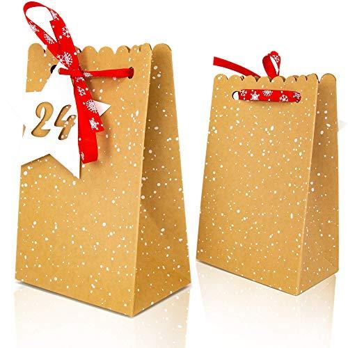 LIMAH® Adventskalender Set zum selber befüllen DIY, Adventkalender 24 Kraft-Papiertüten/Papptüten mit Zahlen-Anhänger 1-24 und Schleife, Kalender basteln zu Weihnachten 2020