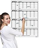 """Business Basics Extra Large Dry Erase Vertical 4 Month 36"""" x 48' in Wall Calendar Laminated Dry or Wet Erase Print Squares to Plan Your Whole Day Perfect for School Office Cubicle Home College Dorms"""