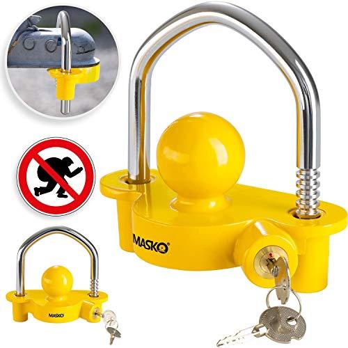 MASKO® Anhängerschloss für gängige Anhängerkupplung einfache Montage Diebstahlschutz Diebstahl Anhänger Sicherung 2 Schlüssel extra sicher Kreuzschloss Gelb