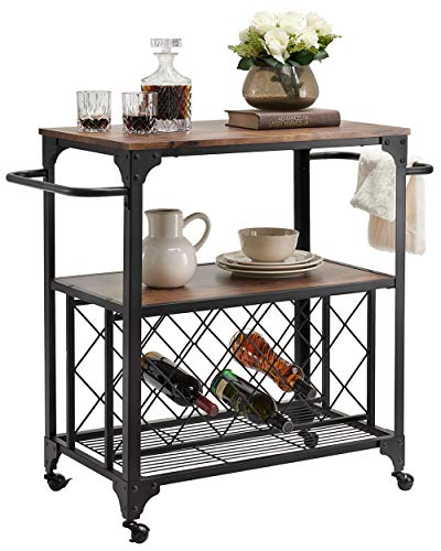 """O&K FURNITUREIndustrial Rolling Bar Serving Cart with Wine Rack, 30""""W x 18.1"""" D Kitchen Carts with Wheels and Handle, Rustic Brown"""
