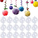 LLMZ Esfera Transparente de Adorno 20 pcs plástico Bolas Transparentes rellenables para árbol de Navidad Decoración del hogar Boda Cumpleaños Fiesta Caja de Regalo