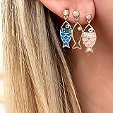 FEARRIN Pendientes para Mujer Stud 3 Unids/Set Cute Colorful Fish Hollow Crystal Gem Pendientes de Gota para Mujer Trend Creative Geometric Party Jewelry C09207