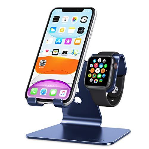 OMOTON 2 en 1 Soporte para iPhone y Apple Watch, Teléfono Móvil y Reloj Soporte de Aluminio Compatible con iPhone 12 Pro MAX 12 Mini 11 Pro SE y iWatch 5/4/3/2/1/SE, Ahorra de Espacio, Azul