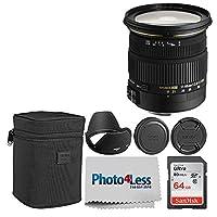 Sigma 17-50mm f/2.8 EX DC OS HSM ズームレンズ APS-Cセンサー付き + 64GBメモリーカード + Photo4Less カメラとレンズクリーニングクロス付き - 最高の価値あるデジタル一眼レフカメラベーシックレンズアクセサリーセット
