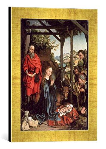 Kunst für Alle '–Fotografía enmarcada de Martin ya gauer El Nacimiento de Jesús, de impresión handgefertigten imágenes de Marco, 30x 40cm, Oro Raya