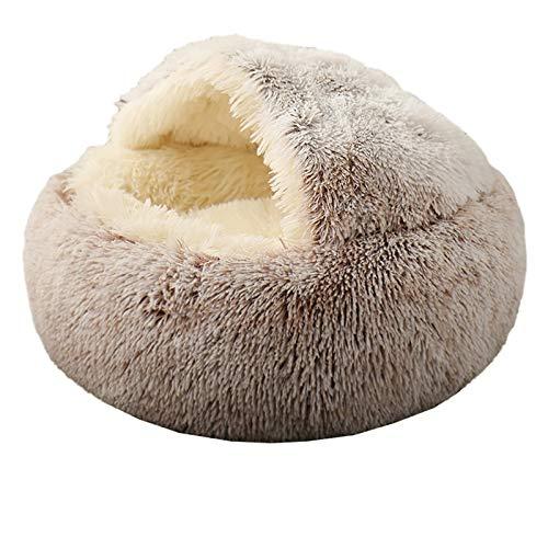 Aujelly Cama para mascotas – redonda y suave felpa, cama de gato con capucha, donut para perros y gatos, cama interior autocalentable en varios tamaños y colores, marrón, 50 cm / pequeño